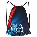 ZHIMI Mochila Con Cordones Unisex,Bobina de película Cine Industria cinematográfica,Bolso con Cordón Impermeable para Nadar/Surfear/Viajar/Hacer Senderismo/Yoga/Deportes