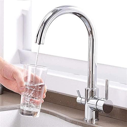 Grifo de Cocina con Mezclador de Agua filtrada Rotación de 360 Grados Grifo de Agua de Bebida de 3 vías Grifos de Fregadero de latón Cromado Grifos mezcladores de Cocina