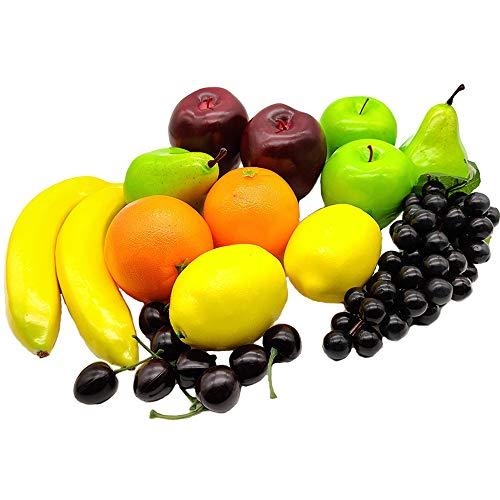 Aisamco 21 Stück künstliche Früchte Sortiert gefälschte Früchte lebensechte realistische Früchte für die Innenküche Restaurantdekoration