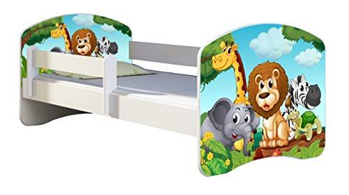 Letto per bambino Cameretta per bambino con materasso Cassetto ACMA II (02 Animaletti, 140x70)