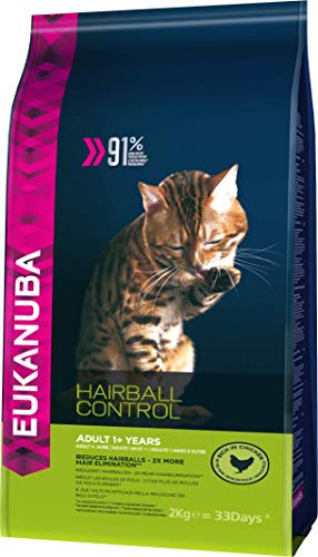Eukanuba Katze Hairball Control, Premium Trockenfutter zur Reduzierung von Haarballen 2Kg