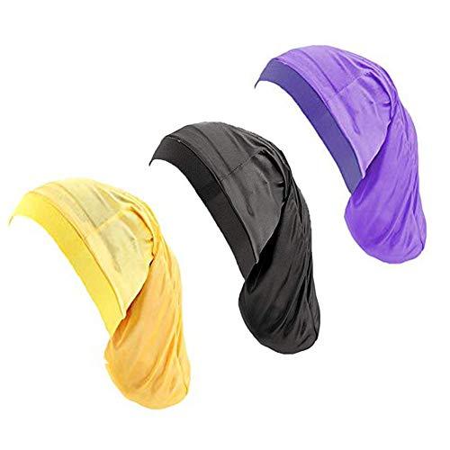 Silky Hair Bonnet for Dreadlocks,3Pack Braid Sleeping Cap Night Sleep Hat for Women Men