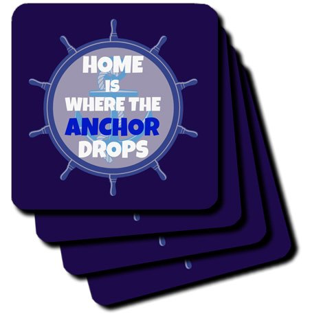3dRose Home is Where The Anchor Drops Keramikfliesen-Untersetzer Weiß/Blau, 4 Stück (CST_216258_3)
