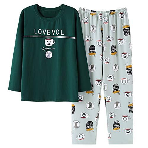 Herren Pyjama Baumwolle Grau O-Ausschnitt Nachtwäsche Herren Langarm Home Kleidung Plus Size L-3xl Pyjama Herren Unterwäsche Set Pyjamas XXL