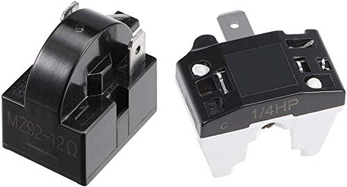 Koelkast PTC Starter Relais + Compressor Thermische Overbelasting Protector, 12 Ohm 2 Pin Starter+ 1/4HP, 1