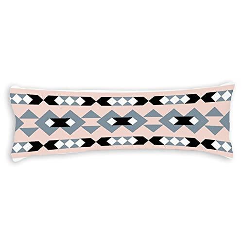 Funda de almohada moderna con diseño de suroeste rosa y gris con cierre de cremallera oculta para sofá, banco, cama, decoración del hogar, 50,8 x 137,2 cm