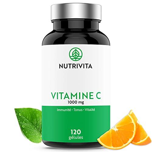 Vitamine C 1000mg Quali®-C   Dosage Puissant   Système Immunitaire & Réduction de la Fatigue   100% Acide L-Ascorbique   120 gélules végétales   Fabriqué en France   Nutrivita