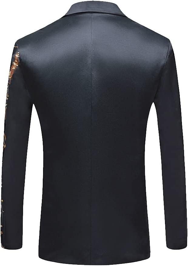 HBIN Men's Black Sequin Party Blazer Slim Fit Singer High Density Sequined Blazer Suits (Color : Blue, Size : Size 40(M))