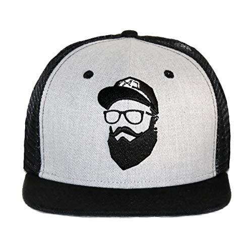 Sporty Hipster Bart Snapback Trucker Mesh Baseball Cap Herren Damen (schwarz/grau)