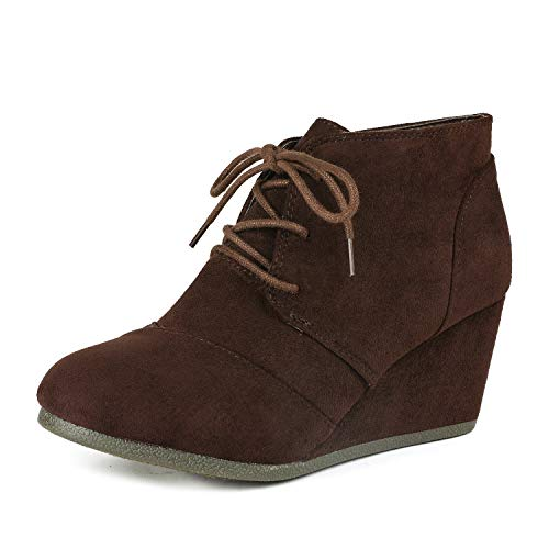 DREAM PAIRS TOMSON Women's Casual Fashion Outdoor Lace Up Low Wedge Heel Booties Shoes brown 8 B(M) US
