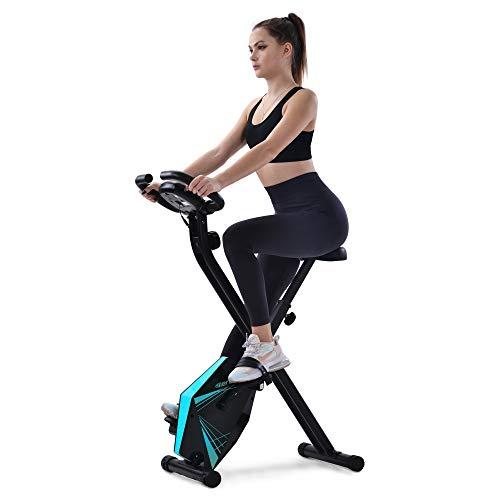 Heimtrainer Bike klappbar, 8 Widerstandsstufen, fitness bike mit Handpulssensoren und Trainingscomputer (Blau)