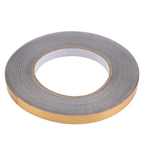 Yisenda Adhesivo, Adhesivo de Aluminio, no se Requiere Pegamento para Superficies Lisas, Planas y limpias para decoración de Paredes, Pisos y Gafas(1 cm x 50 m (Golden))