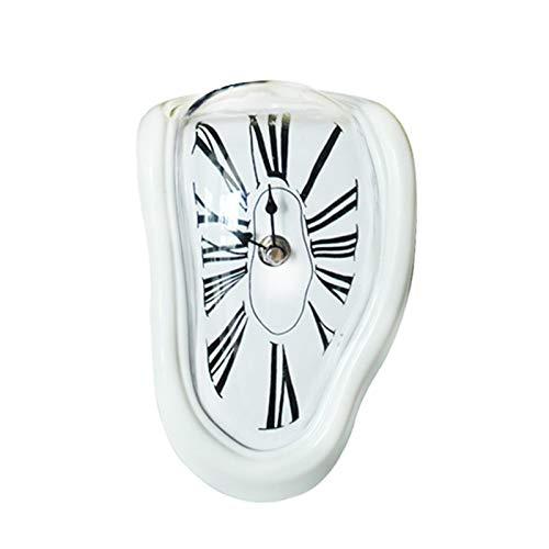 Retro Reloj De Pared Reloj DistorsióN Reloj De NúMeros Romanos Sala Creatividad Personalidad Mudo Abdominales Mesa De FusióN Pintura De Metal Galvanizado,White