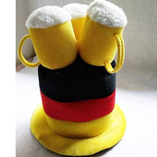 Velvet Deutschland Fanhut Bier Zylinderhut Fußball Hut Hüte Fanclub Germany Karneval Oktoberfest perfekt für Fasching, Karneval