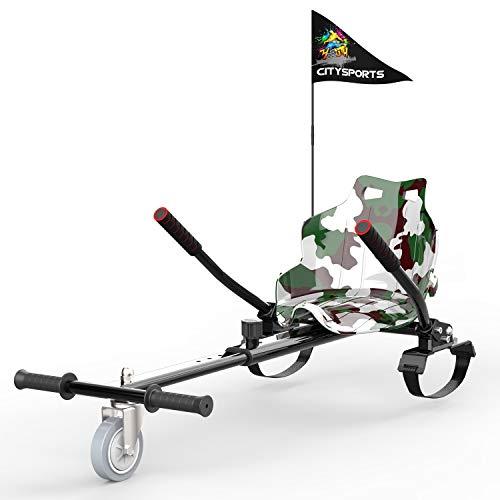 GEARSTONE Asiento Kart, Hoverkart para Patinete Eléctrico, Compatible con Hoverboard (Verde Camuflaje)