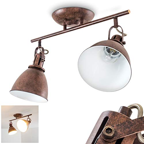 Deckenleuchte Koppom, Deckenlampe aus Metall in Rost/Weiß, 2-flammig, mit verstellbaren Strahlern, 2 x E14-Fassung max. 40 Watt, Spot im Retro/Vintage Design, für LED Leuchtmittel geeignet