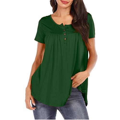 Camiseta Mujer Blusa Mujer Sexy Elegante De Gran Tamaño Cuello Redondo De Manga Corta Verano Color Sólido Clásico Cómodo Vacaciones Casual Mujer C-Green S