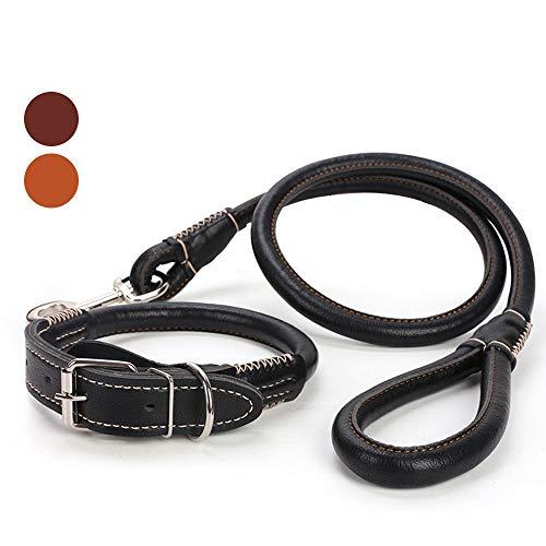 Correa de Perro, el Material de PU es Suave y cómodo, Adecuado para Correr y Caminar, Adecuado para Perros pequeños y Gatos (Collar de Perro),Black,L