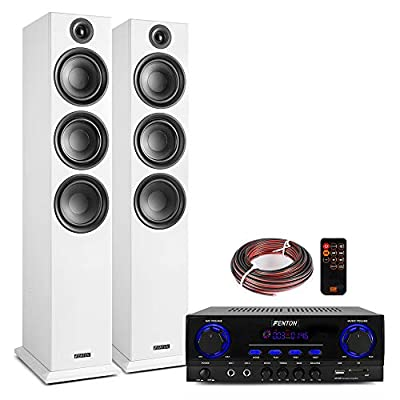 """Fenton SHF80W Tower Speaker Set (Pair) with AV440 Bluetooth Amplifier, Home Hi-Fi Stereo Sound System, 3-Way 6.5"""" White by Electromarket"""