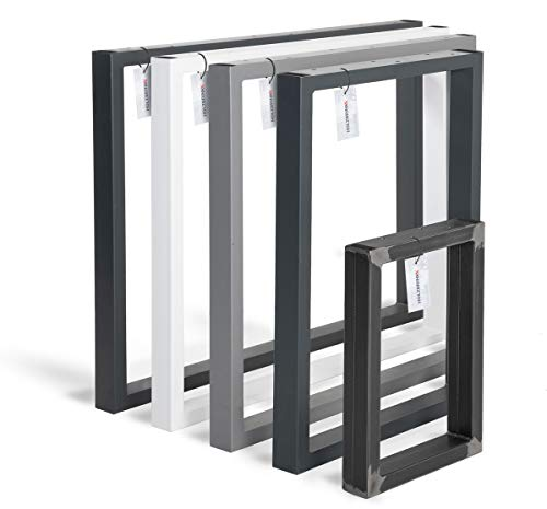 HOLZBRINK Patas de Mesa perfiles de acero 60x30 mm, forma de marco 60x72 cm, Negro Intenso, 1 Pieza, HLT-01-D-CC-9005