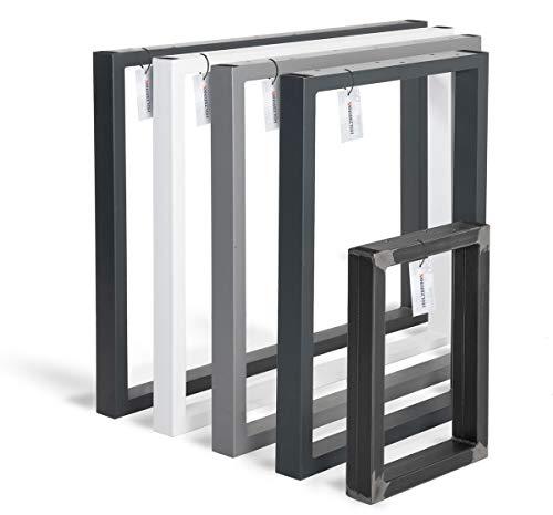 HOLZBRINK Tischkufen aus Vierkantprofilen 60x30 mm, Tischgestell 50x72 cm, Verkehrsweiss, 1 Stück, HLT-01-D-II-9016