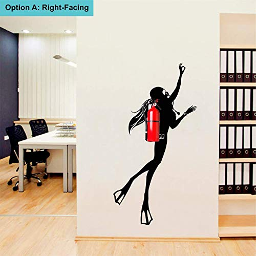 Wallency Girl Silhouette Scuba Diver Wall Decal - High Quality Removable Vinyl Sticker