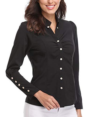 Wudodo Damen Langarmshirt, Bluse für Damen Hemd mit Knöpfen Figurbetonte Hemdbluse...