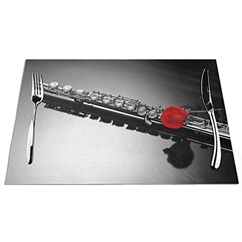 Manteles Individuales Alfombrillas de Mesa de PVC Flauta Toallitas Antideslizantes Resistentes al Calor Manteles Individuales para Cocina Comedor Restaurante Café Juego de 6