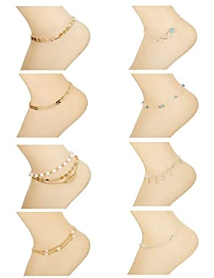 Thunaraz 8Pcs Cute Anklets for Women Charm Anklet Bracelet Beach for Teen Girls