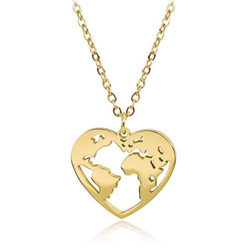 SUNIANA® - Halskette Wanderlust Herz Weltkarte | mit Anhänger in Herzform | Weltkugel | Edelstahl | Damen Kette (Gold)