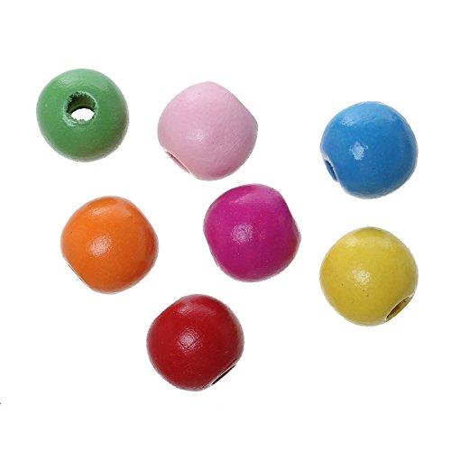 Sadingo Bunte Holzperlen, Holzkugeln Durchgebohrt - 100 Stück - 16mm - Zufällig gemischt - Perlen zum basteln und fädeln
