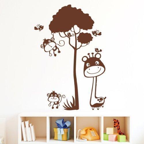 Giraffe mit Äffchen - Wandtattoo / 49 Farben / 4 Größen/kupfer / 70 x 102 cm