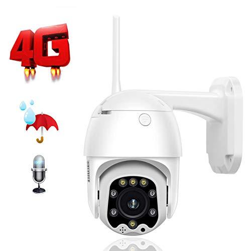 QLPP Cámara de seguridad inalámbrica 4G con ranura para tarjeta SIM PTZ, cámara IP de 1080p, cámara CCTV con sensor de movimiento PIR, 2 vías de audio, IP66 resistente al agua