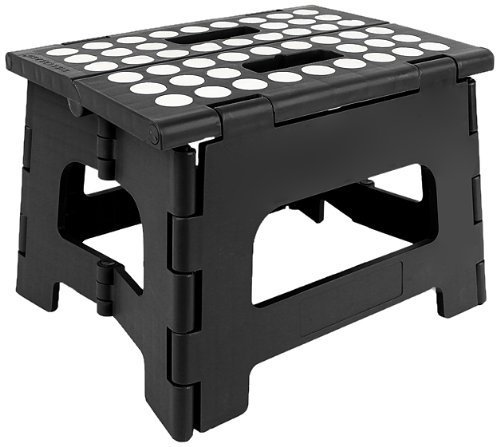 StepSafe High Quality Non Slip Folding Step Stool For Kids and Adults with Handle- 9 in Height, Holds up to 300 Lb! (black)