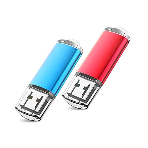 Pen Drive 32GB, Memoria USB 32GB Vansuny Mini Memoria Flash Drive USB 2.0 con Llavero y Led Indicador para Computadoras,Tabletas y Otros Dispositivos (Azul y Rojo, 2x32GB)