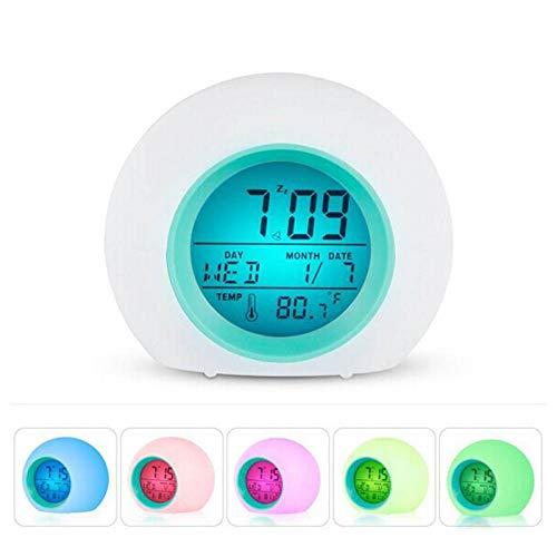 Renqian Digitale wekker, 7 kleuren, kleurverandering, met temperatuurweergave, voor kinderkamer Wit.