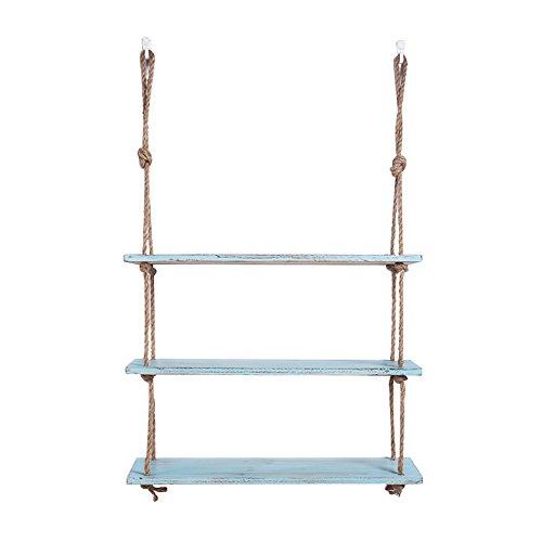 Tiantian-boekenplank Storage Rack creatieve rekken touw, eenvoudige houten decoratieve wandplanken, woonkamer plank decoratieve muur cafes Word Line Rack Pot Rack Optionele Laag 3