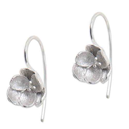 NOVICA .925 Sterling Silver Drop Earrings 'Petite Camellia'