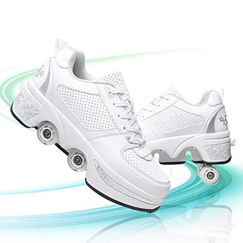 GGXINT Rodillo Zapatos De Skate Zapatos Retráctil Tecnologia Skateboarding Rollerblades Aire Libre Deporte Zapatos para Niños Niñas,White Silver,41