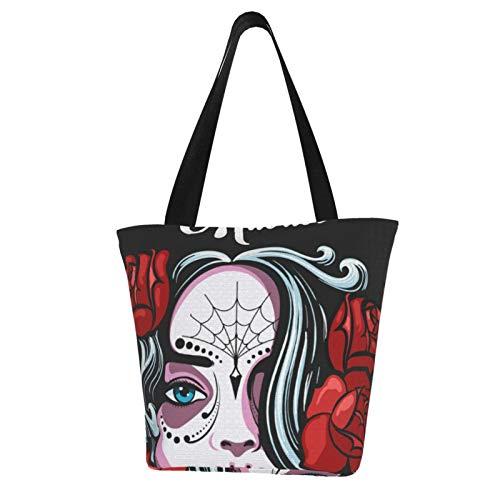Diseño de cartel del día de los muertos Bolsas de tela reutilizables para compras de comestibles, bolsas de moda para manualidades, diseños creativos