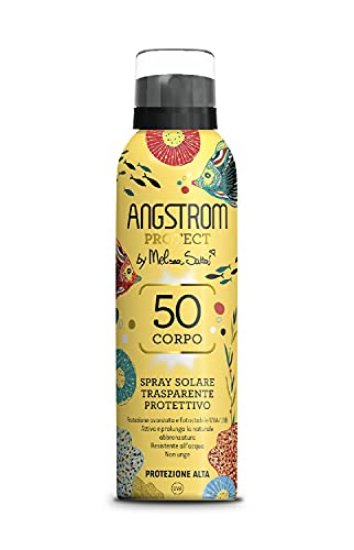 Angstrom Protect Spray Solare Trasparente, Protezione Solare Corpo 50, Spray Solare Limited Edition, Attiva e Prolunga l Abbronzatura, Resistente all Acqua, 150 ml