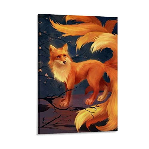 Golden Orange Nine Tailed Fox Fantasy Animal Art Oil Painting Canvas Art Poster and Wall Art Picture Print Modern Family Bedroom Decor Posters 08x12inch(20x30cm)