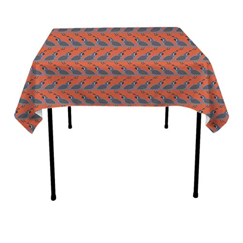 Premium Waterproof Table Cover, Square 3D Print Quail Birds Table Cloths, Waterproof Wrinkle Free Table Toppers - Dinning Tabletop Decoration