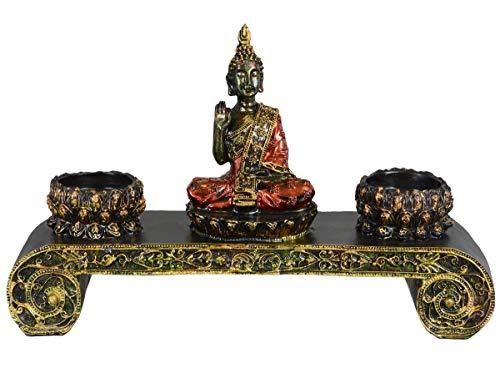 Aricola Thai Buddha Figur. Buddha Skulptur auf Altar mit zwei Teelichthalter aus Polyresin.