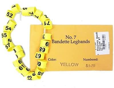 Poultry Numbered Leg Rapid rise Bands Yellow Max 78% OFF 51-75 7 Size