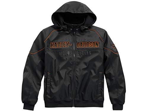 HARLEY-DAVIDSON Idyll Performance Softshelljacke Herren Outdoor Jacke mit herausnehmbarer Kapuze 100% Winddicht, XL