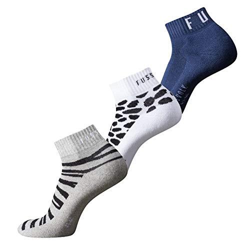 Fussvolk Quarter Socken 3 Paar Sportstrümpfe Ankle Socks Tiermotiv 3er grau-weiß-blau, Size:39-42