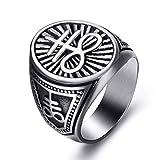 Elfasio Leviathan Cross Sulfur Satanic Devil Lucifer Ring Symbol Men Stainless Steel Rings Vintage Jewelry Size 11