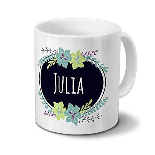 printplanet Tasse mit Namen Julia - Motiv Flowers - Namenstasse, Kaffeebecher, Mug, Becher, Kaffeetasse - Farbe Weiß