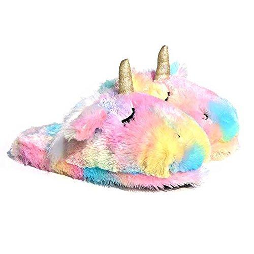 Stofftier Einhorn Hausschuhe | Süße Regenbogen Lama Plüsch Hausschuhe | Alpaka Plüsch Hausschuhe | Flauschige Mädchen Hausschuhe (9-10 US Frauen, Regenbogen Einhörnchen)